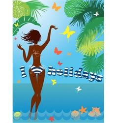 Woman silhouette in bikini swimwear vector image vector image