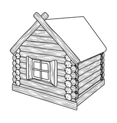 Wooden log cabin hut architectural structure vector