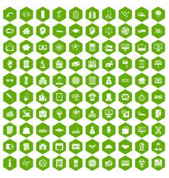 100 loans icons hexagon green vector