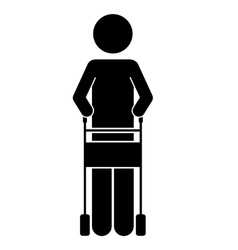 Walker for disabled person isolated icon design vector