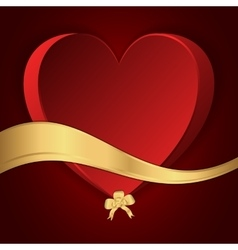 Red heart with a gold bow and gold strip vector