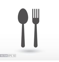 Fork and spoon - flat icon sign food vector