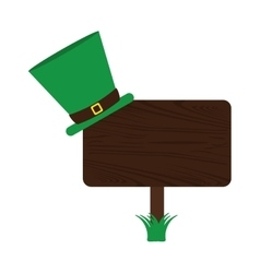 wooden sign st patrick day hat vector image