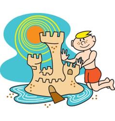 Boy building a sandcastle vector image