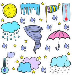 doodle of weather various element vector image