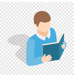 student reading a book isometric icon vector image