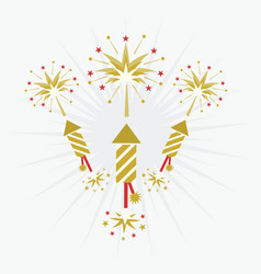 Abstract golden and red rocket firework on white vector