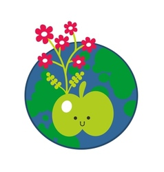 Apple and the earth icon vector