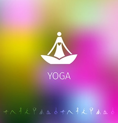 Blured background with yoga logo vector image