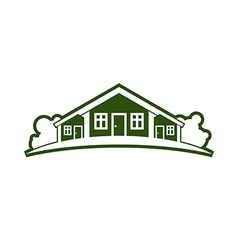 Country houses with horizon line vector