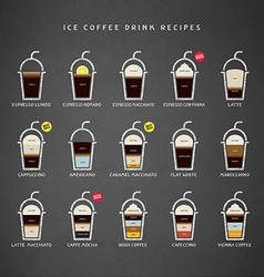 Ice coffee drinks recipes icons set vector
