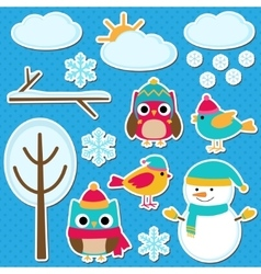 Different winter elements vector