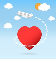 Airplane fly around the red heart shape vector