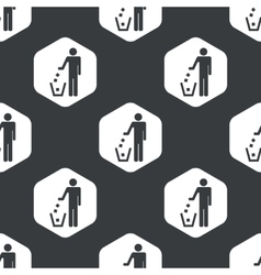 Black hexagon recycling pattern vector image