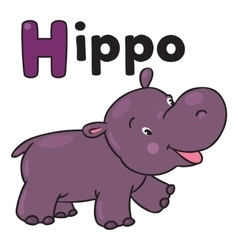 Little funny hippo for abc alphabet h vector
