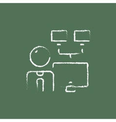 Man with monitors icon drawn in chalk vector image