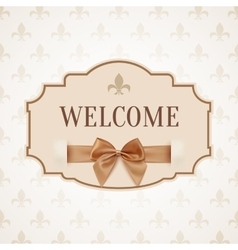 Welcome vintage retro banner with golden ribbon vector