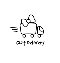 Line style gifts express delivery logotype vector