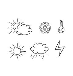 Drawn weather icons vector image