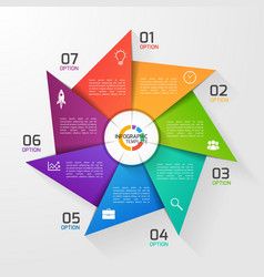 Windmill style infographic template 7 options vector
