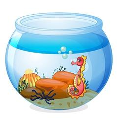 A seahorse inside an aquarium vector image vector image