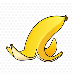 Banana peel on white background with gray dots vector