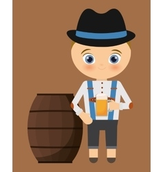 Beer boy cartoon barrel hat oktoberfest icon vector