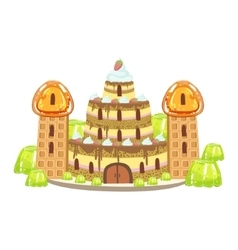 Birthday cake castle with waffle towers fantasy vector