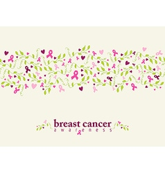 Breast cancer seamless pattern ribbon heart nature vector