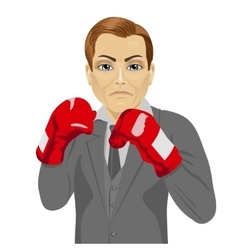 Business man ready to fight with boxing gloves vector