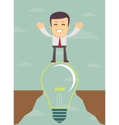 Businessman on a bulb cross an abyss vector image