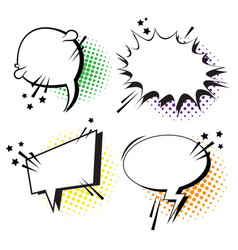 Chat bubble icon set pop art style social media vector