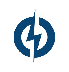Circle lightning bolt logo design vector