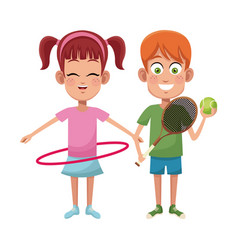 Couple children sport hula hoop tennis vector