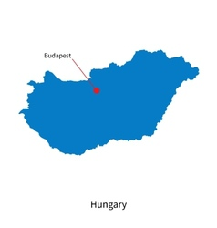 Detailed map of hungary and capital city budapest vector