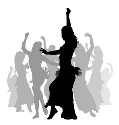 East woman dancers silhouette vector image vector image