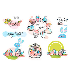 Easter frame with easter eggs hand drawn black on vector