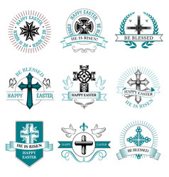 easter greeting element crucifix cross icon vector image