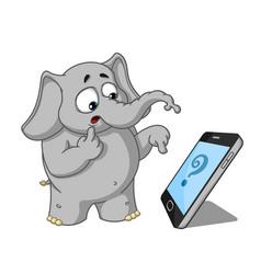 Elephantsomeone called surprised cartoon vector