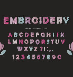 Embroidery font design cute abc letters and vector