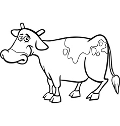 farm cow cartoon for coloring book vector image vector image