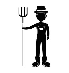 farmer with rake avatar character icon vector image vector image
