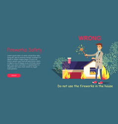 Fireworks safety use pyrotechnics only outdoors vector