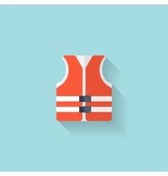 Flat lifejacket web iconbackground wit vector