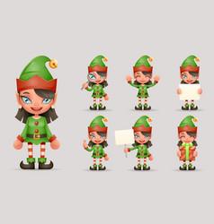 Girl cute elf christmas santa teen icons new year vector
