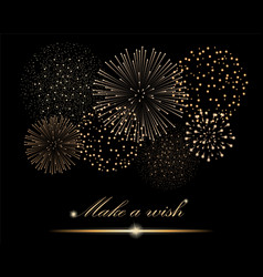 Golden firework show on black background make a vector
