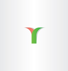 green red letter y logotype logo design vector image