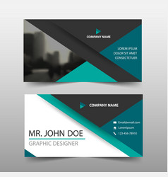 Green triangle corporate business card name card vector