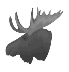 head of an elk with horns canada single icon in vector image
