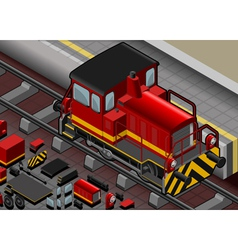 Isometric red train in front view vector